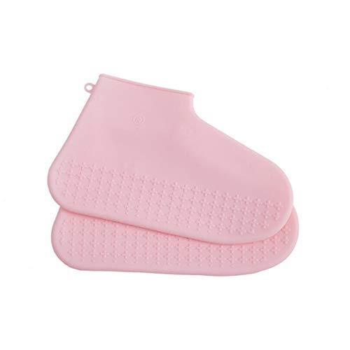 Yongqin Cubrezapatos Impermeables Cubrezapatos De Silicona Reutilizables Impermeables Y A Prueba De Lluvia Zapatos De Hombre Cubrezapatos Antideslizantes Lavable Unisex - Rosa, M