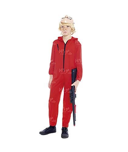 Disfraz Atracador Niño con Máscara Mono Rojo Cremallera Infantil (7-9 años) (+ Tallas) Carnaval y Halloween