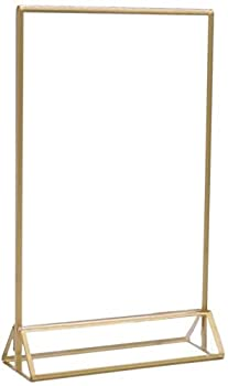 UNIQOOO Acrylic Sign Holders with Gold Border Pack of 12 | 4x6 Double Sided Clear Frame
