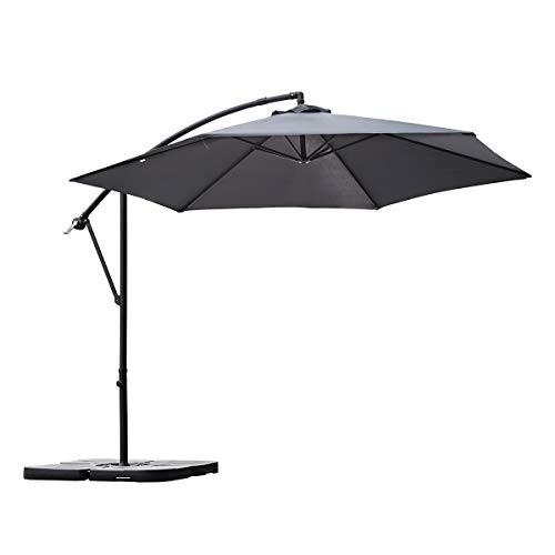 Sekey® Ampelschirm 300 cm Sonnenschirm Gartenschirm Kurbelschirm mit Kurbelvorrichtung Sonnenschutz UV50+ (GRAU)