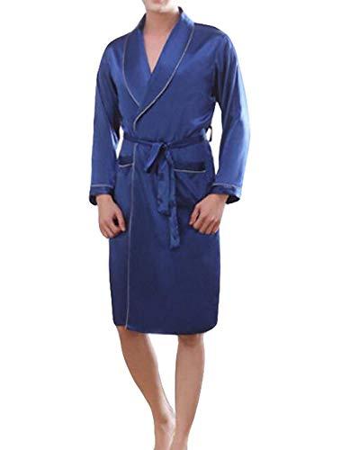 Bata De Baño Hombre Bata De Baño Bata Tamaños Cómodos De Baño Hombre Hombre Bata De Seda Pañuelo De Seda Y Verano Toga De Pijama Ropa (Color : Azul, Size : L)