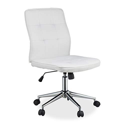 Relaxdays Bürostuhl Silla de Oficina (Altura Ajustable, ergonómica, cómoda, soporta hasta 120 kg, 104 x 60 x 60 cm), Color Blanco, Tela, Metal, plástico, 1 Unidad