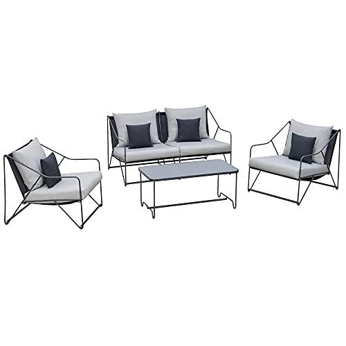 Outsunny Conjunto de Muebles de Jardín 4 Piezas Set de 1 Mesa 2 Sillones 1 Sofá con Cojines Decorativos para Terraza Patio Exterior Gris