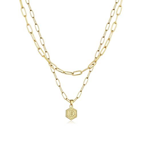 a-z Letter Necklaces for Women - 14k Gold Chain Initial Letter Pendant Necklace,Simple Cute Hexagon Letter Pendant Initial Choker Necklace Jewelry Gifts(D)