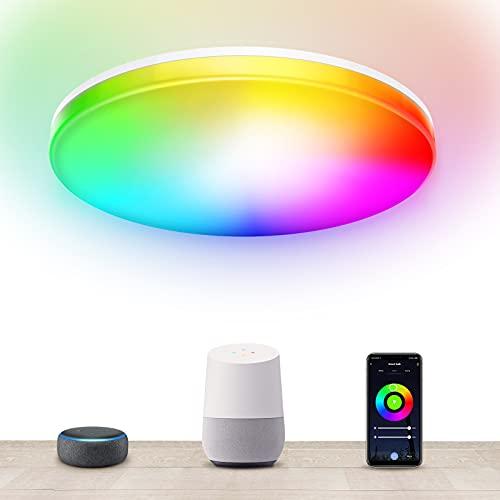 MMcRRx RGB Alexa lampara de techo inteligente, plafón led redondo regulable 28w 3000LM con APP, para salón dormitorio habitación infantil oficina comedor cocina balcón 3000K-6000K + RGB Ø28cm