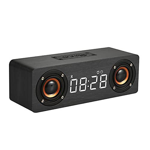 BMDHA Altavoz Bluetooth Potente,Altavoces PortáTil RelojInaláMbrica, Altavoces Bluetooth De Madera RectáNgulo Bluetooth Sonido Radiio FM Casa Voz Inteligente Conveniente