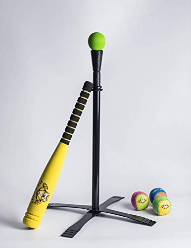 Haqaqa 23.62 Inch Soft Foam Baseball Toy Set for 3-8 Years Old Kids, 4 Colored Safe Stable T Ball Set for Toddlers (Yellow)