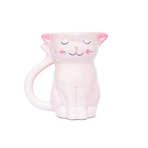 Fluffy Dreams Taza de cerámica con diseño de gato en 3D, color blanco/rosa, pintada a mano para los amantes de los gatos, capacidad para 310 ml de café, té, bebidas en caja de regalo.