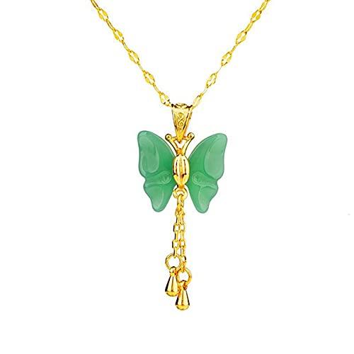 Revilium Colgante De Mariposa De Jade Joyería China Amuleto Collar Regalos Encanto Calcedonia...