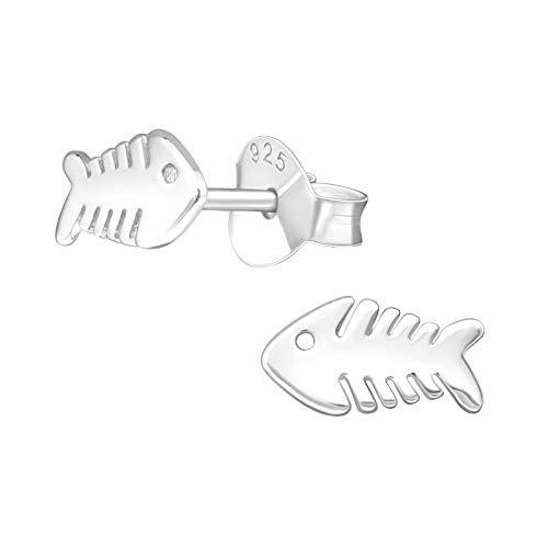 bungsa Pendientes Fish Bone ear-studs para las mujeres y los hombres de acero inoxidable