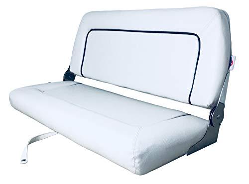Saarwebstore Steuerbank Coach de Luxe 2er Sitzbank in Zwei Farben weiß oder Navy Bootssitzbank Farbe Weiß