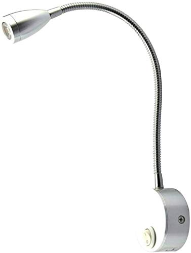 CVERY LED Leselicht, 2pcs Nachttisch Rv Spot Lampe 3000K 12V Flexibel Schwanenhals Wandleuchter Lampe für Wohnmobil Wohnwagen Van Boot - B - Silber, Free Size