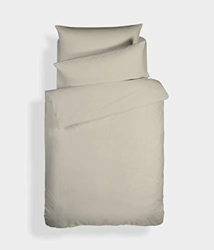 Bianca Plain Dyed Percale Couette + taie d'oreiller pour lit 105 cm, 100% aldodón, Naturel, 180 X 220 + 50 x 125 cm, 2