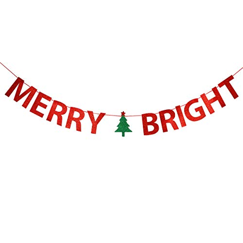 Red Glittery Merry Bright Banner