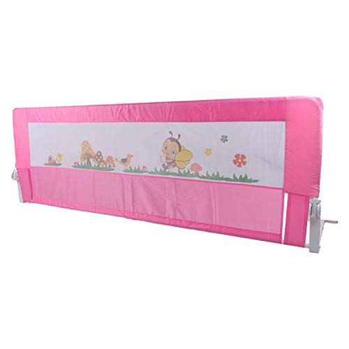 MorNon Guardia Plegable De La Protección De La Seguridad del Carril De La Cama del Niño del Bebé Barandilla de Cama Dispositivos de Seguridad Anticaída Rosa 150cm