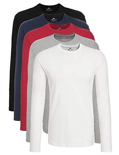 Lower East Camiseta de manga larga Hombre, Pack de 5, Multicolor (Weiß/Schwarz/Grau/Anthrazit/Rot), L(DE)
