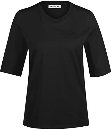 Lacoste Femme T-Shirt Manches Longues TF9424, Dame Logo Tshirt,Tee imprimé,Taille Normale,Black (031),46 EU