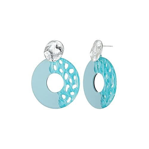 De Buena Calidad Pendientes De Diseño De Resina Azul Turquesa