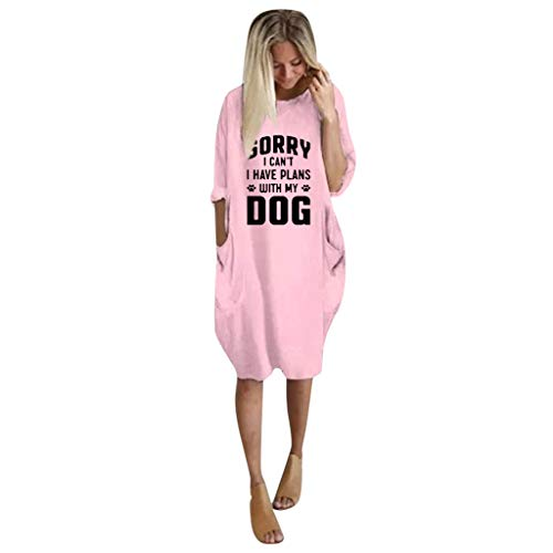 Oldlover✚Day Dress for Women Fall Women's Casual Long Sleeve Oversized Baggy Dresses T-Shirt Dress with Pockets Dresses Pink
