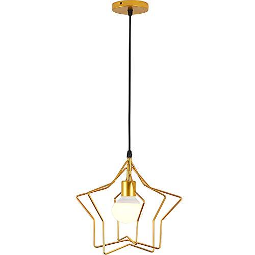 Retro Industrial Lámpara de Techo E27 Vintage Colgante de Luz Moderna LED Estrella Casquillo Luz del Techo para Caféteria Restaurante Casa Habitacion,Color Oro