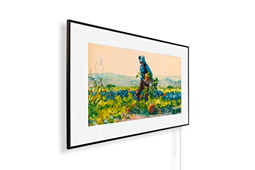 Könighaus Infrarotheizung – Kunstwerke/Gemälde mit Passepartout – TÜV/GS - 800 Watt + Smart Thermostat + Könighaus APP - Schwarzer Rahmen (33. Winslow Homer_ For to Be a Farmer's Boy)