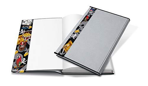 HERMA 24265 Buchumschlag HERMÄX Design Pirat (Größe 26,5 x 54 cm, transparent) Buchhülle aus robuster Folie mit Namensetikett, 1 Buchschoner für Schulbücher