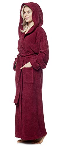 Arus Bathrobe Pacific Hooded 100% Terry Cotton, L, Burgundy