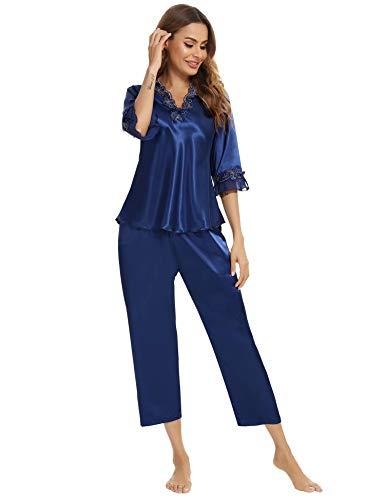 Aiboria Pijama de Satén para Mujer, 2 Piezas Mujeres Seda Tops de Mangas 3/4 Largas con Volante y Pantalones Largos Ropa De Dormir Señoras