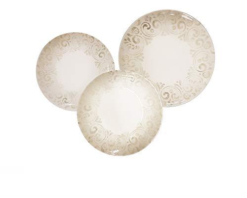 REPLOOD Vajilla de 18 piezas para 6 personas de porcelana, modelo romántico