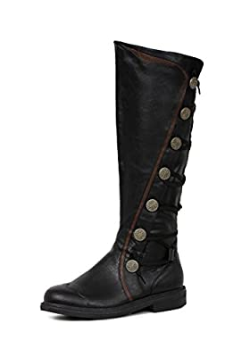 Ellie Shoes Mens Fresco Black Knee High Period Boots Size Large 12-13 by Ellie Shoes