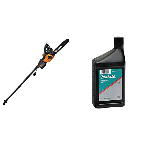 Worx WG309, 8 Amp 10-inch Corded Electric Pole Saw & Chainsaw with Auto-Tension & Makita 181119-a Bar and Chain Oil Lubricant, 1 Quart Automotive Accessories, Black