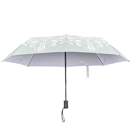 Paraguas de sol abierto y cerrado, diseño étnico, resistente al viento y al agua, Blanco2 (Blanco) - Knowikonwn-UBR