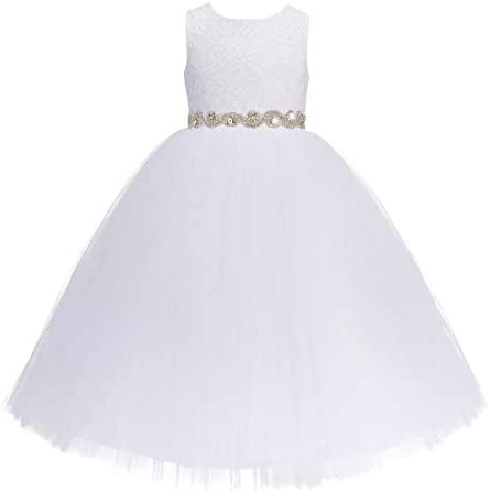 White Floral Lace Heart Cutout Flower Girl Dress First Communion Gown 172R2 4 product image