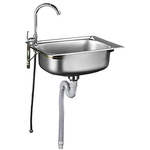 Roestvrijstalen spoelbak Commerci毛le wandgemonteerde keuken enkele spoelbak, met 360 graden draaibare kraan en driehoekige beugel, voor keuken of bar (afmetingen: 500 * 400 mm)