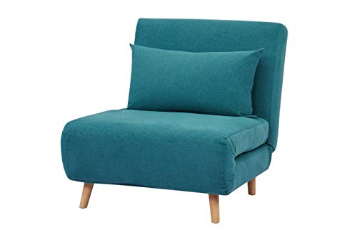 GIA Tri-Fold Sofa Bed, With Pillow, Peacock Blue