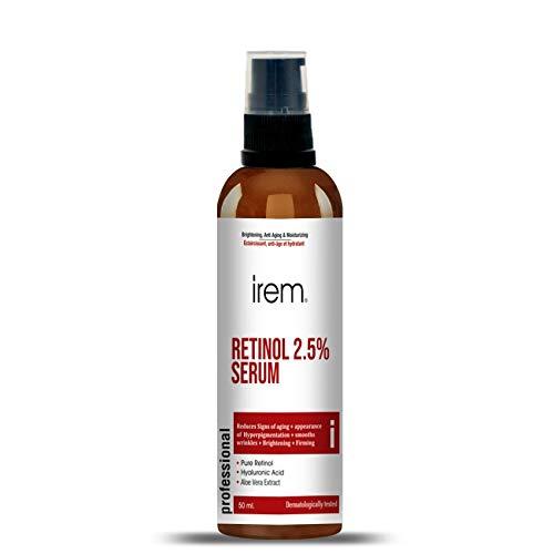 Irem Retinol Serum 2.5% with Hyaluronic Acid, Aloe Vera, Vitamin E - Boost Collagen Production, Reduce Wrinkles, Fine Lines, Even Skin Tone, Age Spots, Sun Spots - 1 fl oz … (50ml)