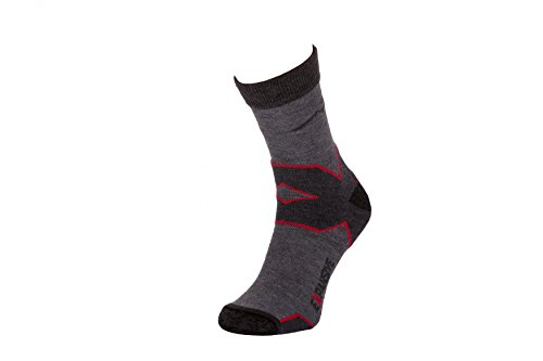 Filmar Factory Trekking Light Chaussettes de Trekking | Chaussettes fonctionnelles | 22% Merino | Coutures Plates | Double Bride | Trekking Light Grey/Red | 35-38