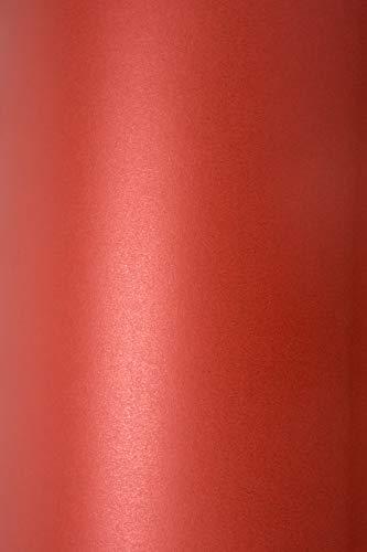 10 x Blatt Perlmutt-Rot 125g Papier DIN A4 210x297mm, Sirio Pearl Red Fever, ideal für Hochzeit, Geburtstag, Weihnachten, Einladungen, Diplome, Grußkarten, Scrapbooking, Kunst und Handwerk