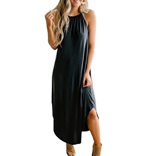 sunnymi Vestido de verano para mujer, informal, cuello redondo, sin mangas, con corte dividido Negro M