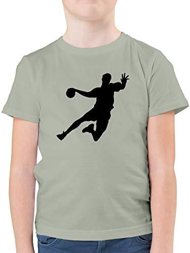 Sport Kind - Handballer - 128 (7/8 Jahre) - Hellgrau - F130K - Kinder Tshirts und T-Shirt für Jungen
