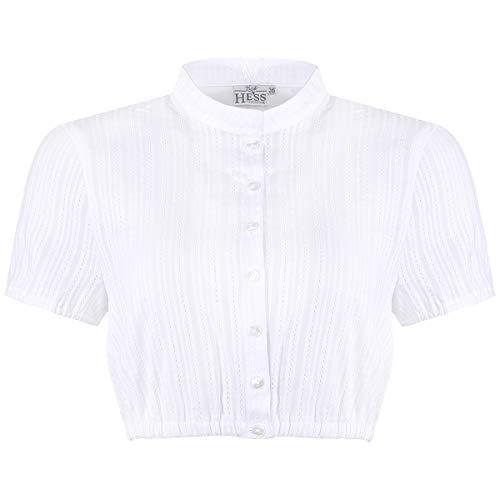 Hess Damen Trachten-Mode Dirndlbluse Irmgard in Weiß traditionell, Größe:46, Weiss o. a. Farbe und Formen:weiß Kurzarm
