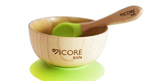 Ciotola di bambù e cucchiaio bambini colazione | Ciotola di bambù con base a ventosa per superfici porose e isolante | Ciotola di silicone per bambini senza BPA | Ciotola per BLW