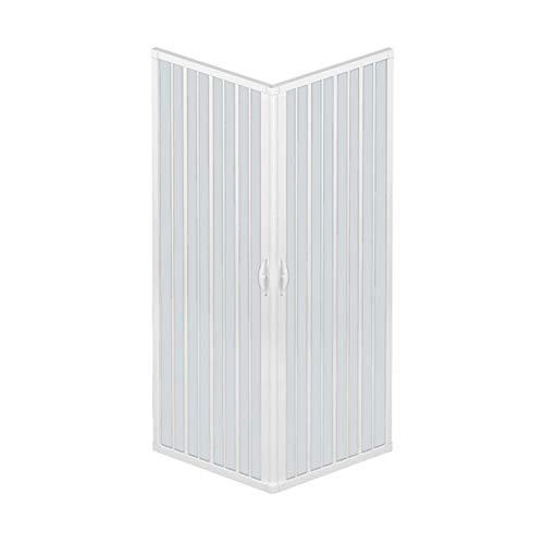 Duschkabine mit zwei Türen, Verschlusswinkel 90 °, hergestellt aus ungiftigem PVC, selbstverlöschend, durch den Schienenschnitt, Farbe Weiß.