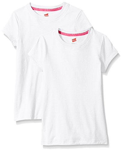 Hanes Little Girls' Jersey Cotton Tee (Pack of 2), White, Medium