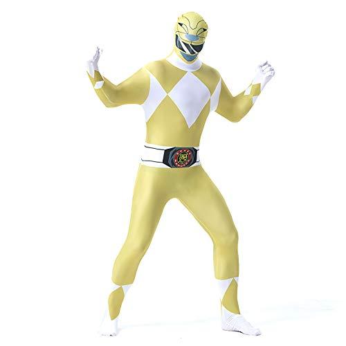 FYBR Mighty Morphin Power Ranger SuperSkin Costume - Adulto Unisex Uomo & Donna Seconda Pelle Zentai Tutina Vestito Halloween Lycra, Yellow, L