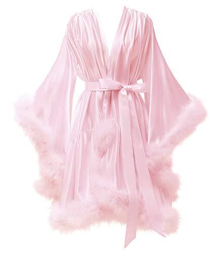 Yexinbridal Feather Fur Robe Silk Satin Bridal Dressing Gown Sexy Illusion Lingerie Nightgown Bathrobe Sleepwear Blush L/XL