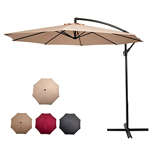 CAMORSA 3M Cantilever Parasol, Garden Umbrella with 8 Ribs, Outdoor Sunshade Canopy with Crank Tilt Mechanism UV Protection, Beige