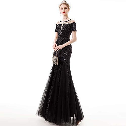 YYH Frauen-Kleid-Eleganter U-Ausschnitt Mermaid Abendkleid Hochzeit Prom,Schwarz,S
