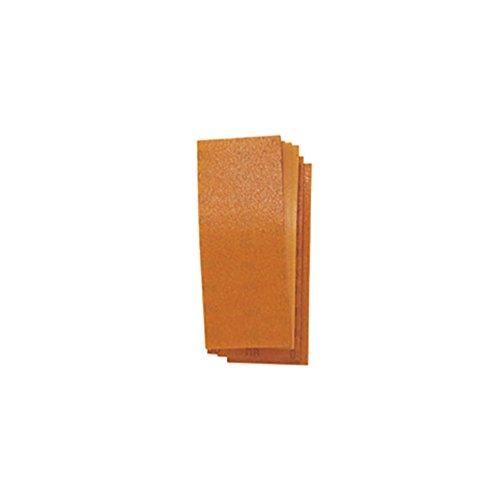 Schuurblad voor excenterschuurmachines. In papierkorund, met bevestiging met houder. Geschikt voor hout en schilderij. Verpakking van 10 stuks. Grootte mm 115 x 280.