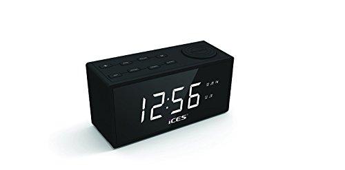 iCES ICR-240 Radiowecker (Sleeptimer, Dimmerfunktion, 2x Weckzeiten, Schlummerfunktion, NAP Funktion) schwarz